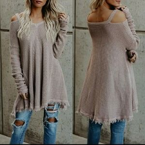 Raw Edge Cold Shoulder Sweater
